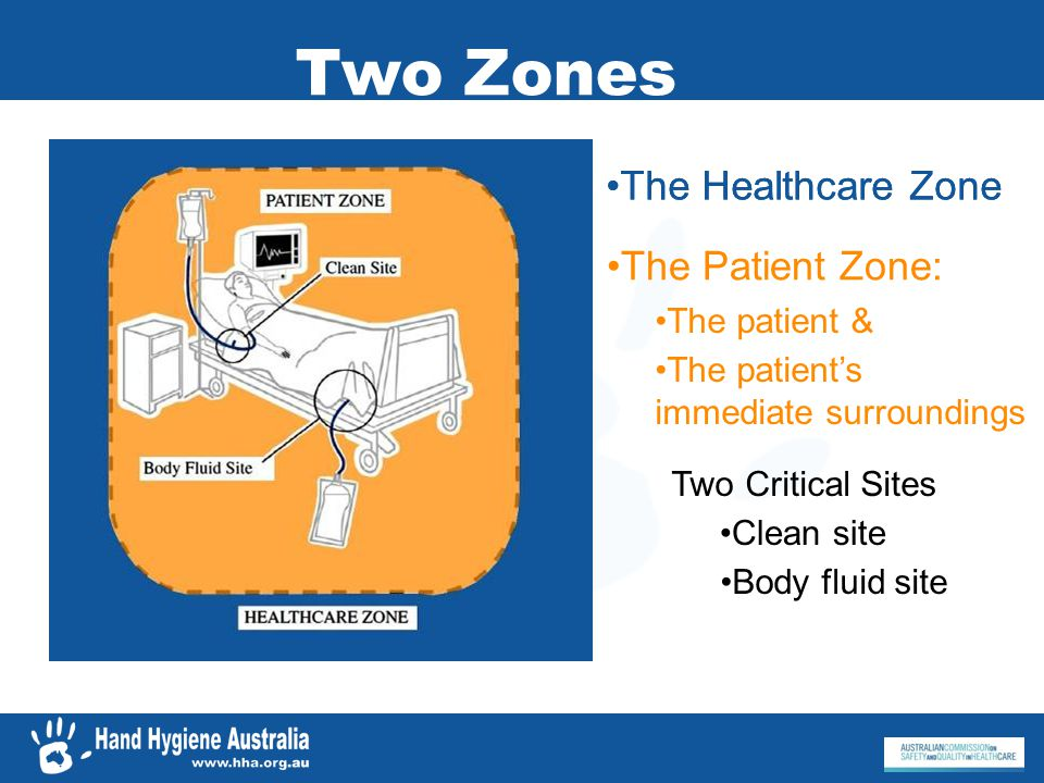 Two Zones The Patient Zone: The patients immediate surroundings The patient & Two Critical Sites Clean site Body fluid site The Healthcare Zone