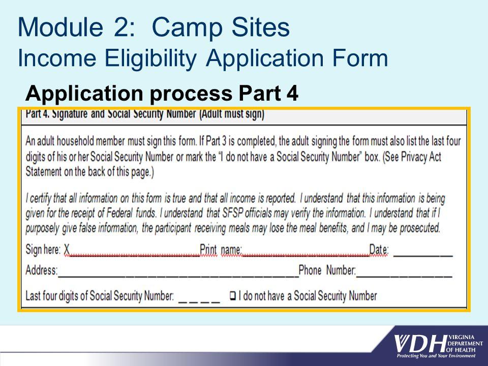 Module 2: Camp Sites Income Eligibility Application Form Application process Part 4