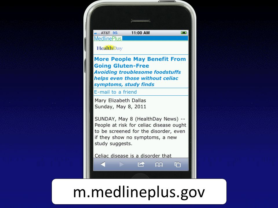 Screen capture of an English HealthDay news article on MedlinePlus Mobile on an iPhone m.medlineplus.gov
