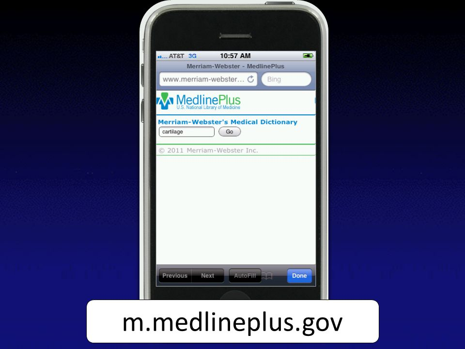 Screen capture of the medical dictionary search page on MedlinePlus Mobile on an iPhone m.medlineplus.gov