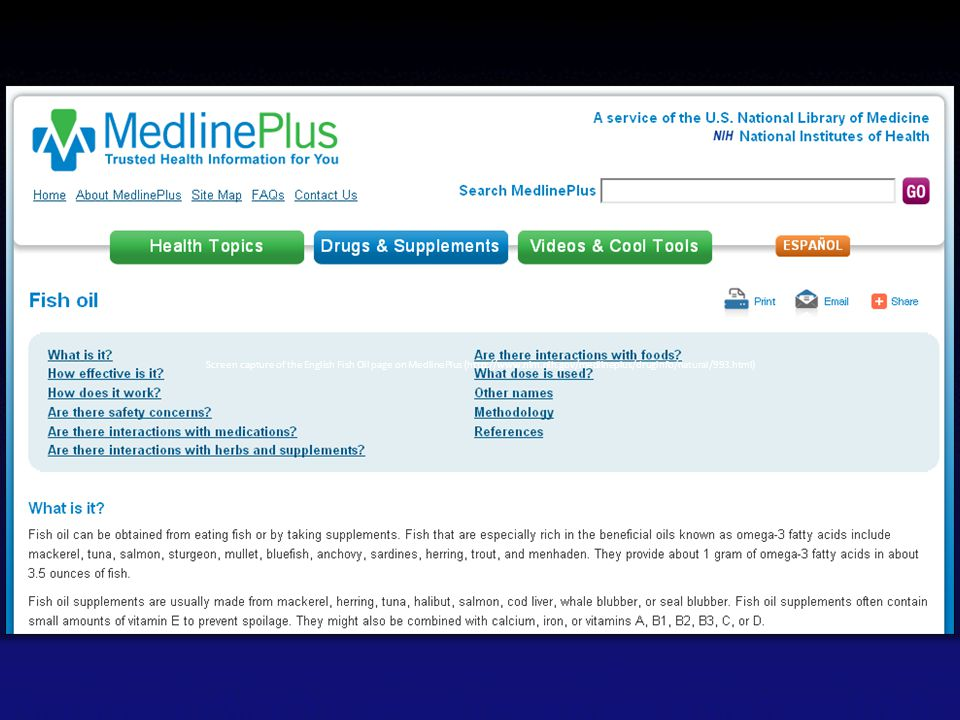 Screen capture of the English Fish Oil page on MedlinePlus (http://www.nlm.nih.gov/medlineplus/druginfo/natural/993.html)
