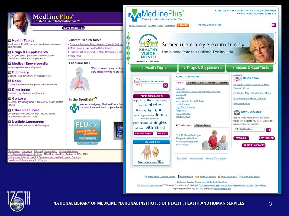 Screen captures of the MedlinePlus English homepages before and after the redesign. 3