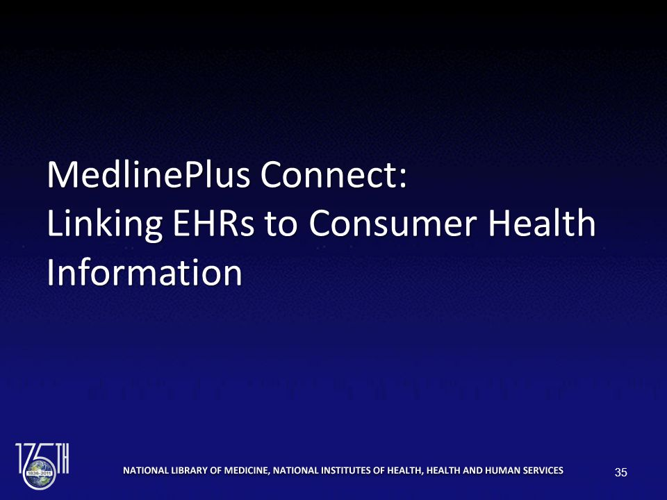 MedlinePlus Connect: Linking EHRs to Consumer Health Information 35