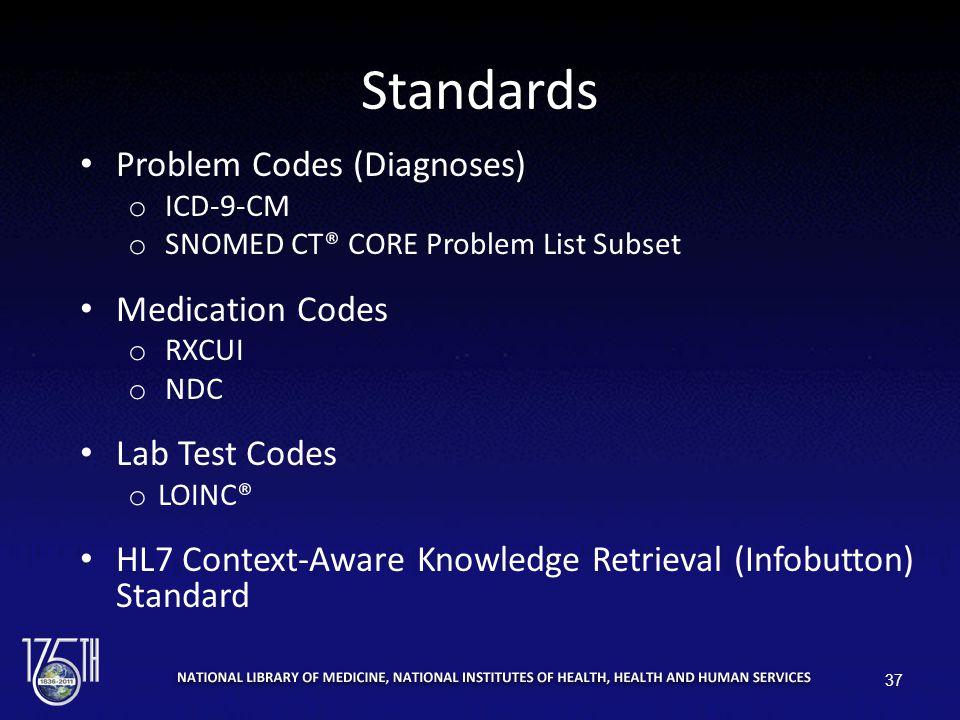 Standards Problem Codes (Diagnoses) o ICD-9-CM o SNOMED CT® CORE Problem List Subset Medication Codes o RXCUI o NDC Lab Test Codes o LOINC® HL7 Contex