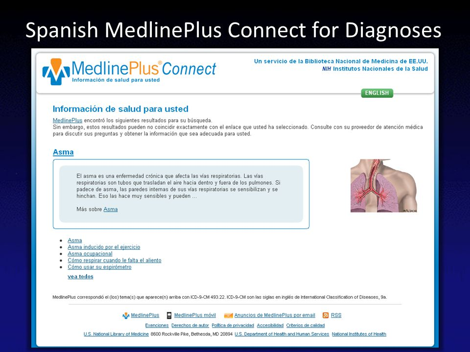 Spanish MedlinePlus Connect for Diagnoses