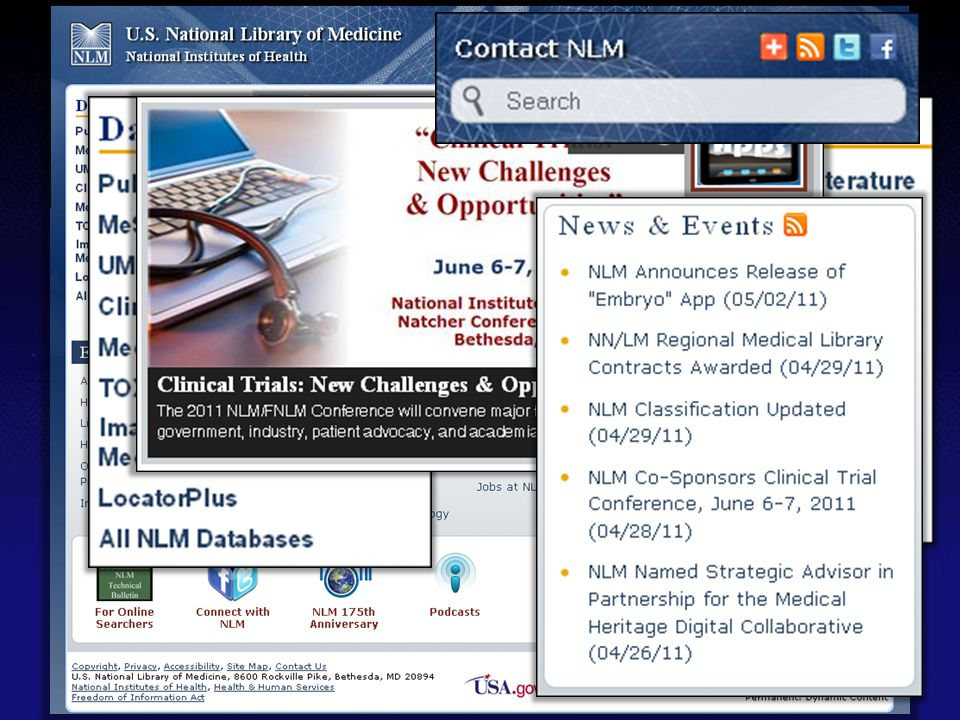 Prominent features on the redesigned NLM homepage