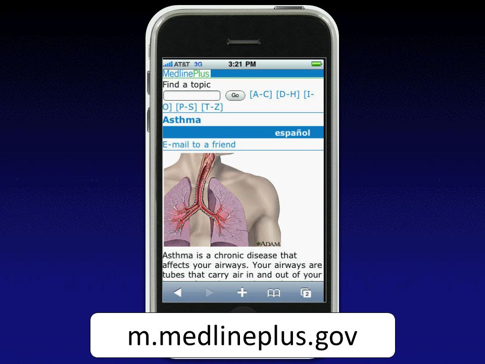 Screen capture of the MedlinePlus Mobile asthma English health topic page on an iPhone m.medlineplus.gov