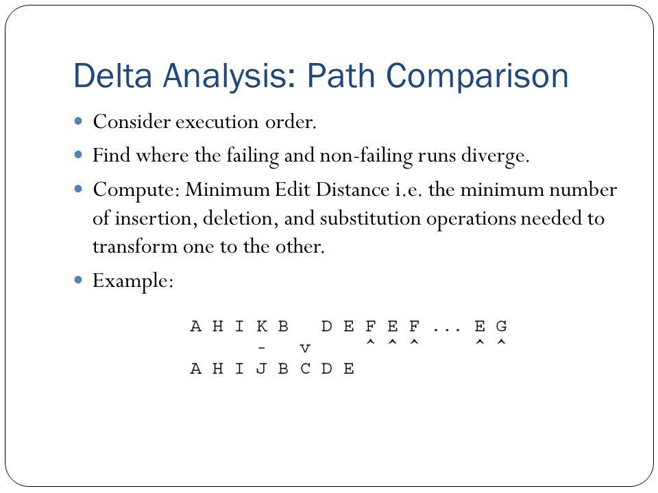 Delta Analysis: Path Comparison Consider execution order.