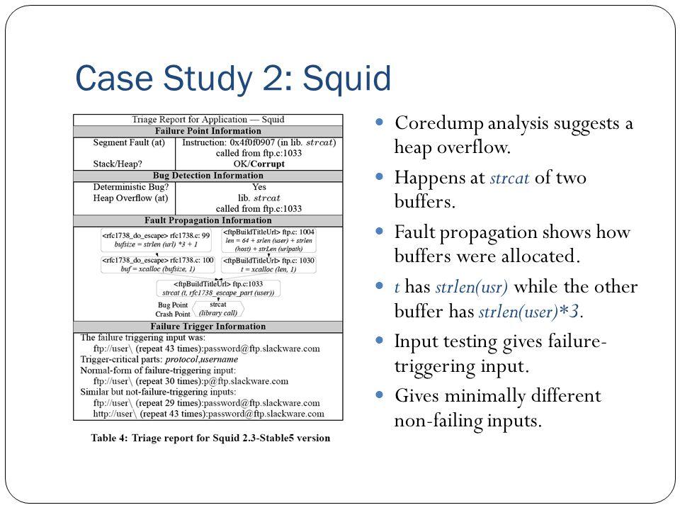 Case Study 2: Squid Coredump analysis suggests a heap overflow.