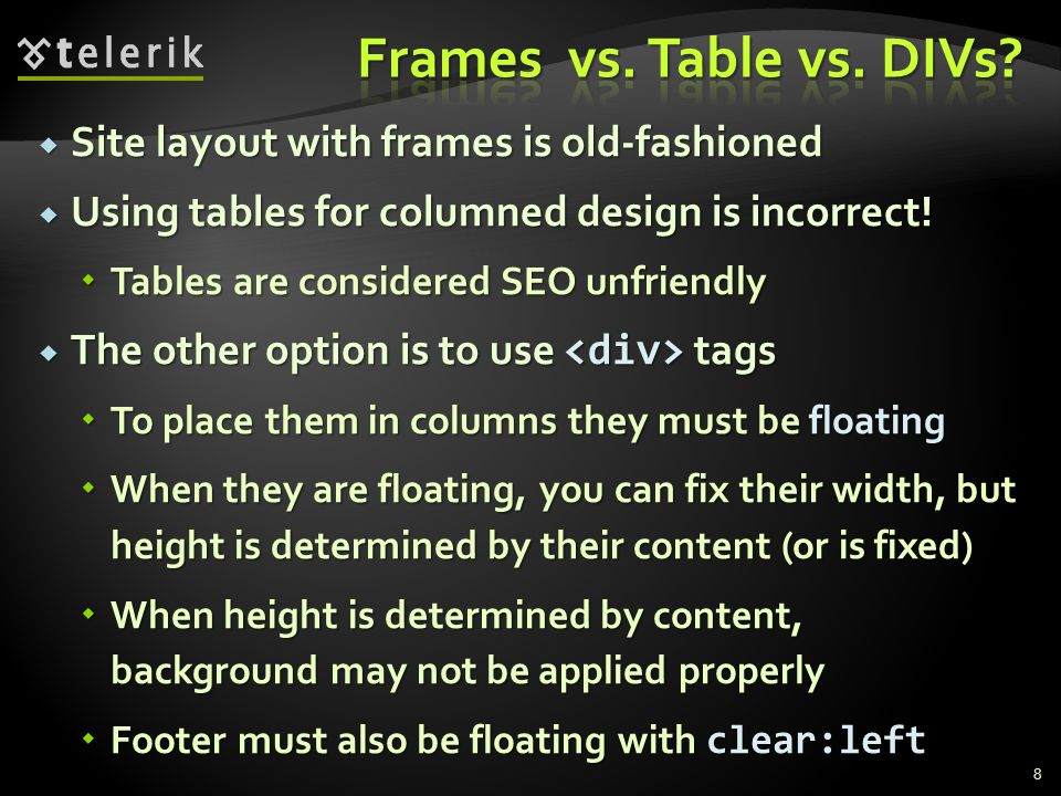 Site layout with frames is old-fashioned Site layout with frames is old-fashioned Using tables for columned design is incorrect.
