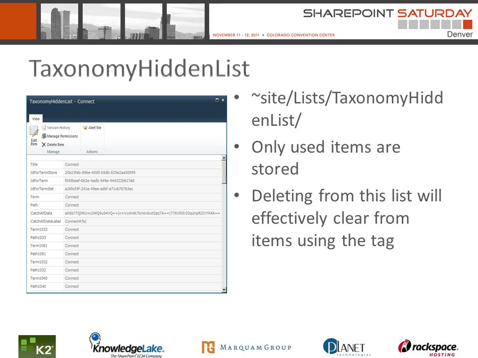 ~site/Lists/TaxonomyHidd enList/ Only used items are stored Deleting from this list will effectively clear from items using the tag