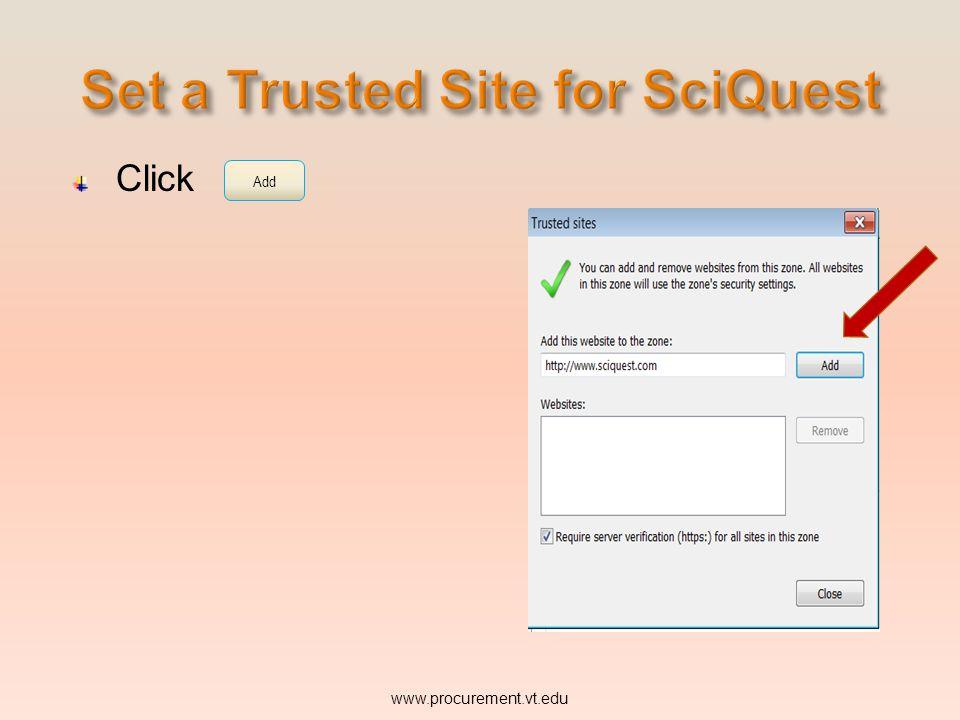 Click www.procurement.vt.edu Add