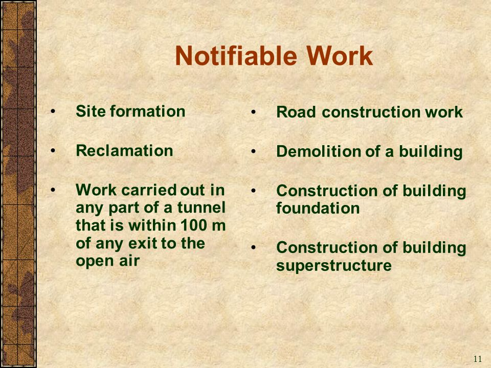 11 Notifiable Work Road construction work Demolition of a building Construction of building foundation Construction of building superstructure Site fo