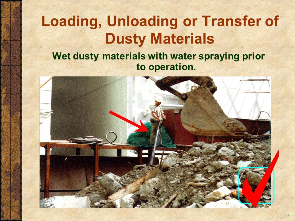 25 Loading, Unloading or Transfer of Dusty Materials Wet dusty materials with water spraying prior to operation.
