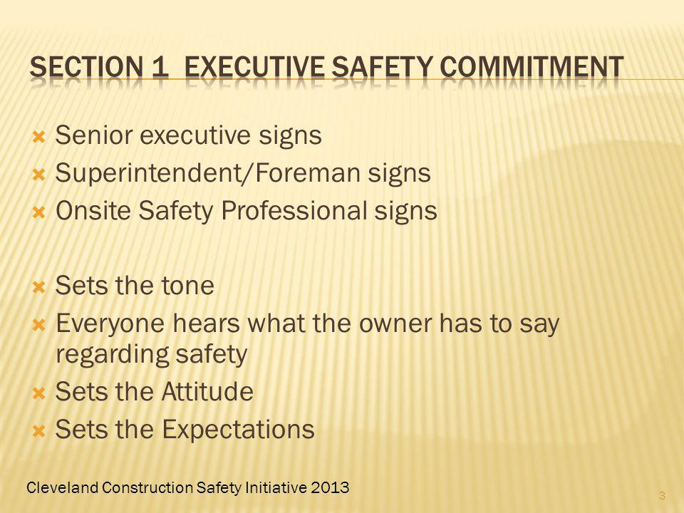 Cleveland Construction Safety Initiative 2013 Senior executive signs Superintendent/Foreman signs Onsite Safety Professional signs Sets the tone Every