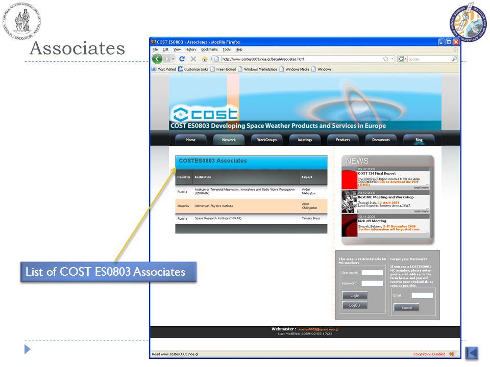Associates List of COST ES0803 Associates