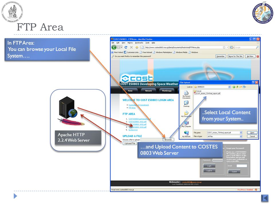 FTP Area In FTP Area: You can browse your Local File System…. In FTP Area: You can browse your Local File System…. …and Upload Content to COSTES 0803