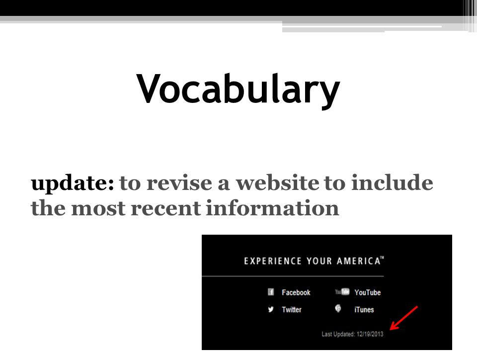Vocabulary update: to revise a website to include the most recent information