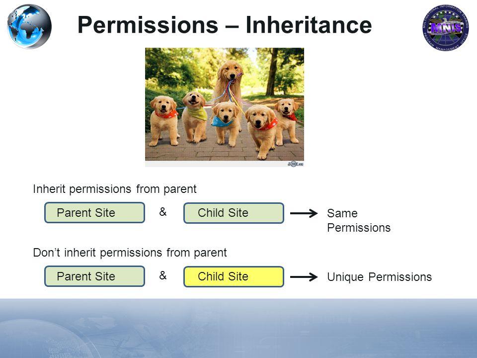 Permissions – Inheritance Parent Site Inherit permissions from parent Child Site Same Permissions & Parent Site Dont inherit permissions from parent Child Site Unique Permissions &