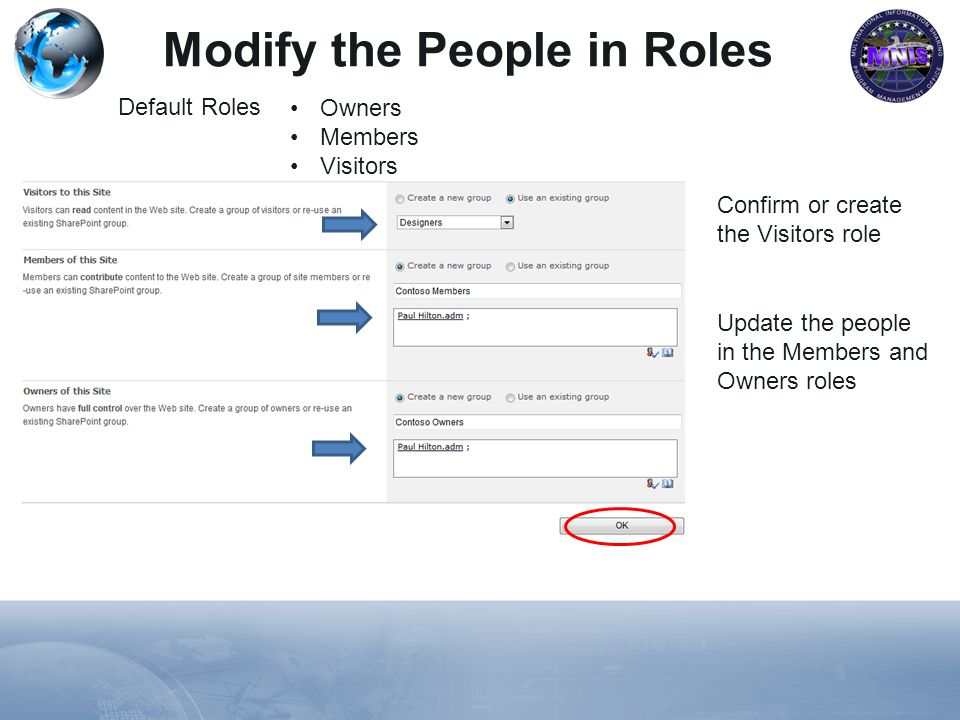 Modify the People in Roles Default Roles Owners Members Visitors Confirm or create the Visitors role Update the people in the Members and Owners roles