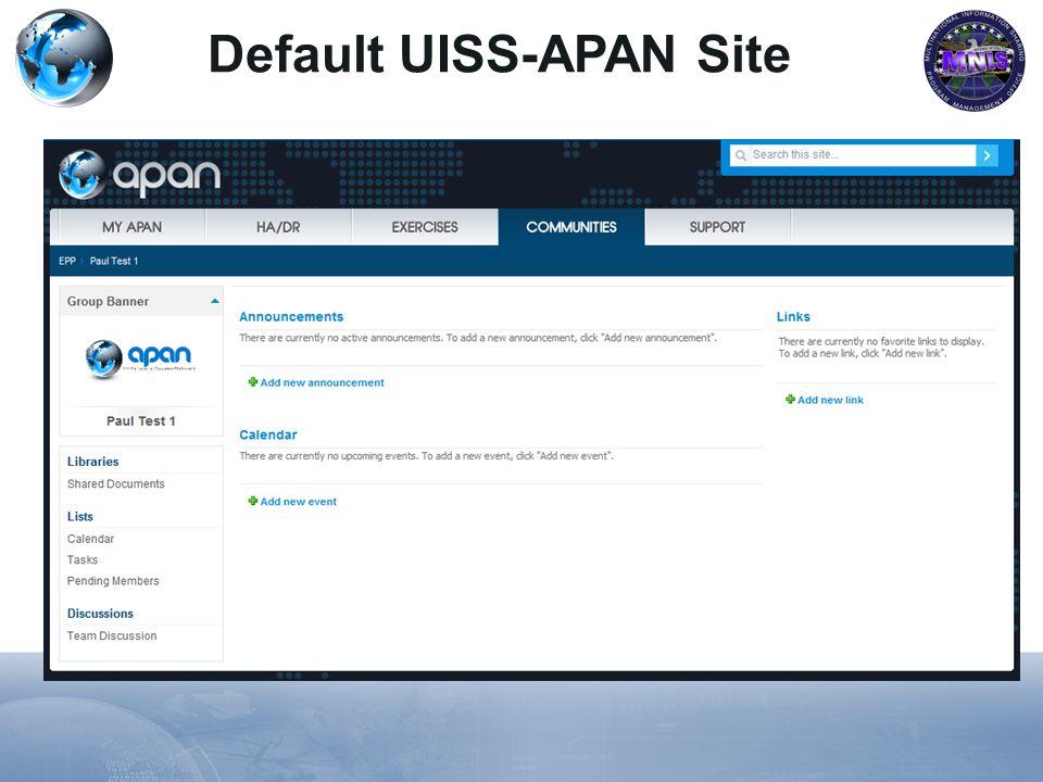 Default UISS-APAN Site