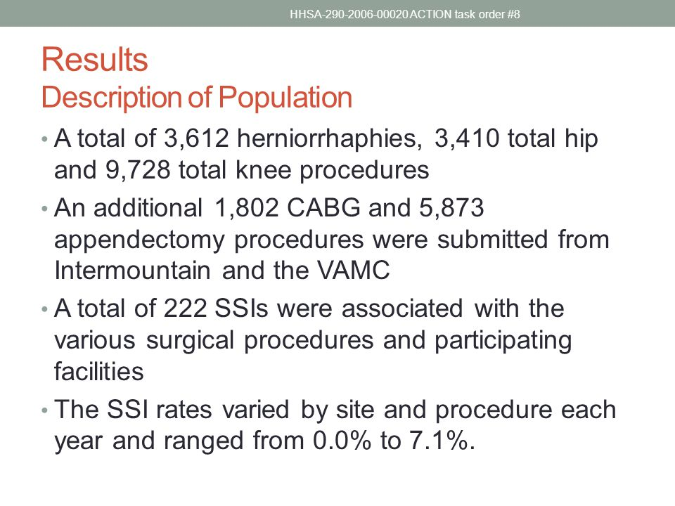 Results Description of Population A total of 3,612 herniorrhaphies, 3,410 total hip and 9,728 total knee procedures An additional 1,802 CABG and 5,873 appendectomy procedures were submitted from Intermountain and the VAMC A total of 222 SSIs were associated with the various surgical procedures and participating facilities The SSI rates varied by site and procedure each year and ranged from 0.0% to 7.1%.