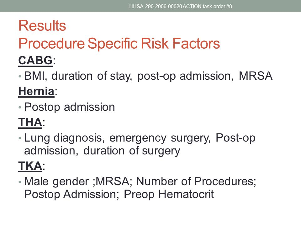 Results Procedure Specific Risk Factors CABG: BMI, duration of stay, post-op admission, MRSA Hernia: Postop admission THA: Lung diagnosis, emergency surgery, Post-op admission, duration of surgery TKA: Male gender ;MRSA; Number of Procedures; Postop Admission; Preop Hematocrit HHSA-290-2006-00020 ACTION task order #8