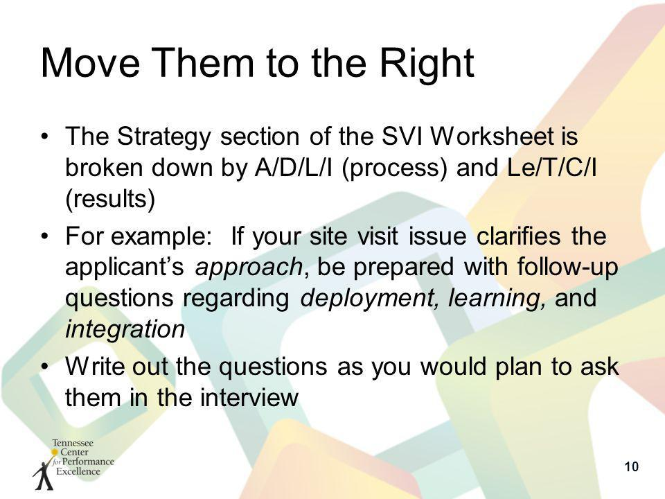 Move Them to the Right The Strategy section of the SVI Worksheet is broken down by A/D/L/I (process) and Le/T/C/I (results) For example: If your site