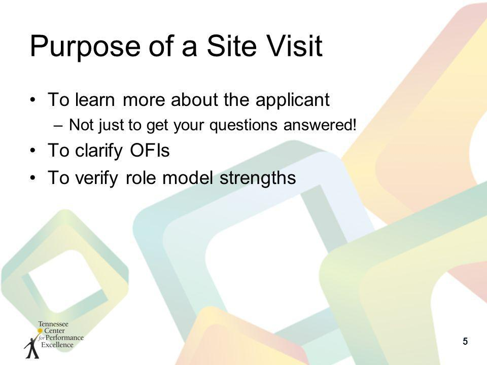 Purpose of a Site Visit To learn more about the applicant –Not just to get your questions answered! To clarify OFIs To verify role model strengths 5
