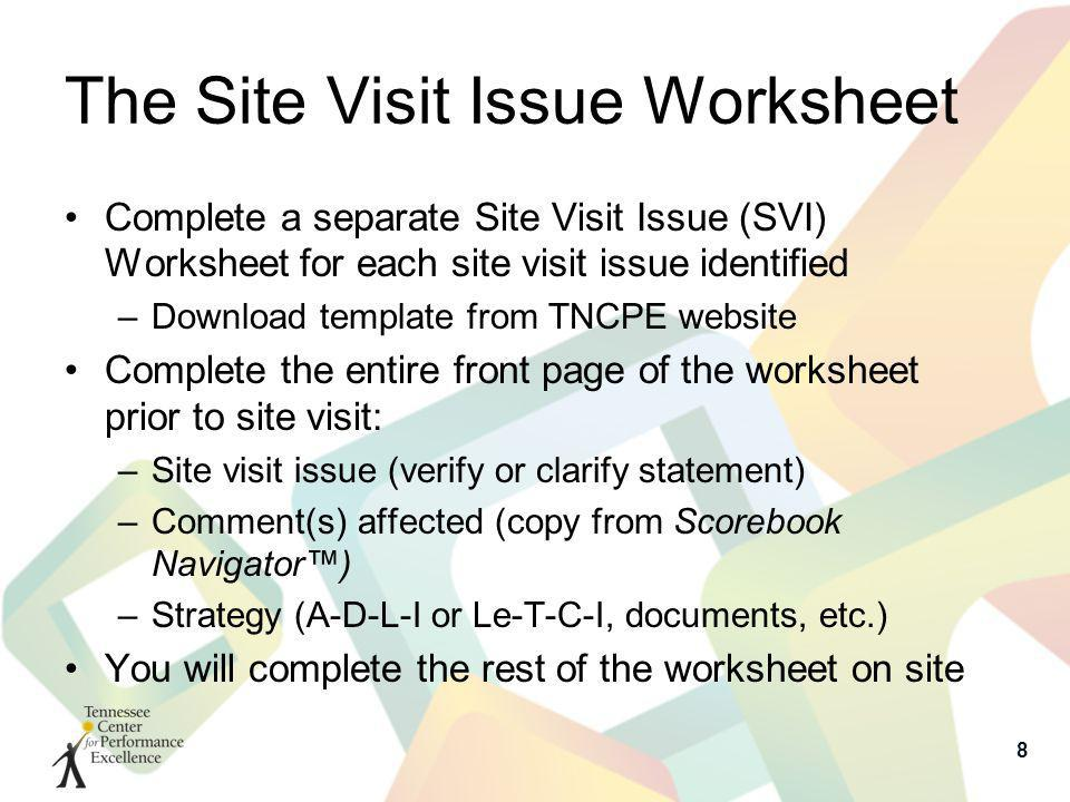 The Site Visit Issue Worksheet Complete a separate Site Visit Issue (SVI) Worksheet for each site visit issue identified –Download template from TNCPE website Complete the entire front page of the worksheet prior to site visit: –Site visit issue (verify or clarify statement) –Comment(s) affected (copy from Scorebook Navigator) –Strategy (A-D-L-I or Le-T-C-I, documents, etc.) You will complete the rest of the worksheet on site 8