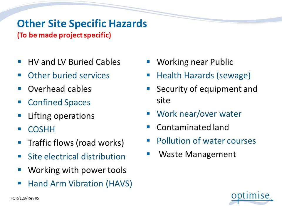 Other Site Specific Hazards (To be made project specific) HV and LV Buried Cables Other buried services Overhead cables Confined Spaces Lifting operat