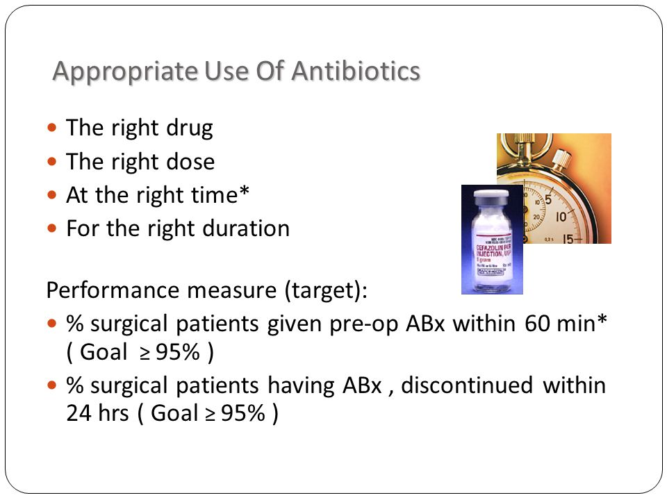Appropriate Use Of Antibiotics Appropriate Use Of Antibiotics The right drug The right dose At the right time* For the right duration Performance measure (target): % surgical patients given pre-op ABx within 60 min* ( Goal 95% ) % surgical patients having ABx, discontinued within 24 hrs ( Goal 95% )