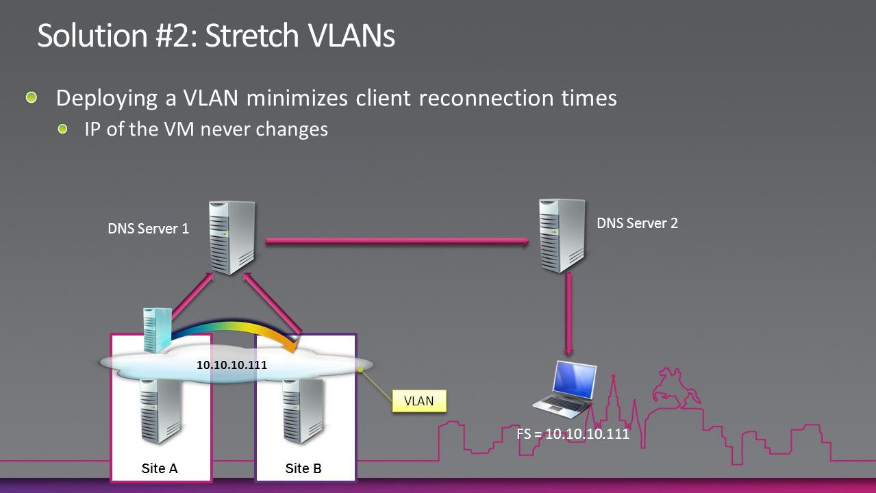 DNS Server 1 DNS Server 2 FS = 10.10.10.111 Site ASite B 10.10.10.111 VLAN