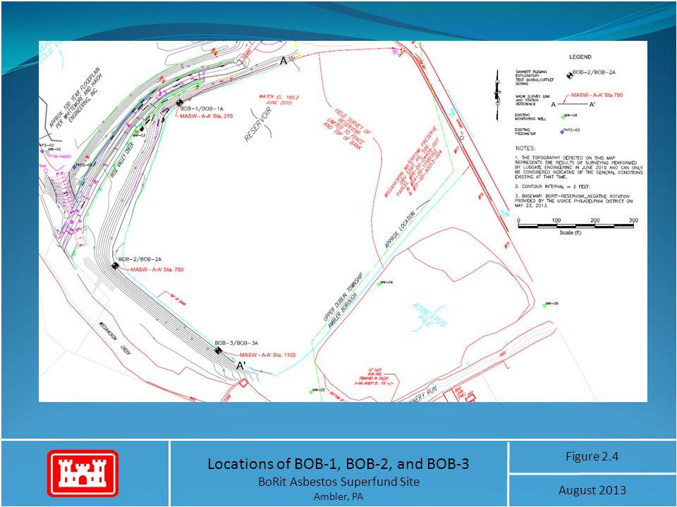Locations of BOB-1, BOB-2, and BOB-3 BoRit Asbestos Superfund Site Ambler, PA Figure 2.4 August 2013