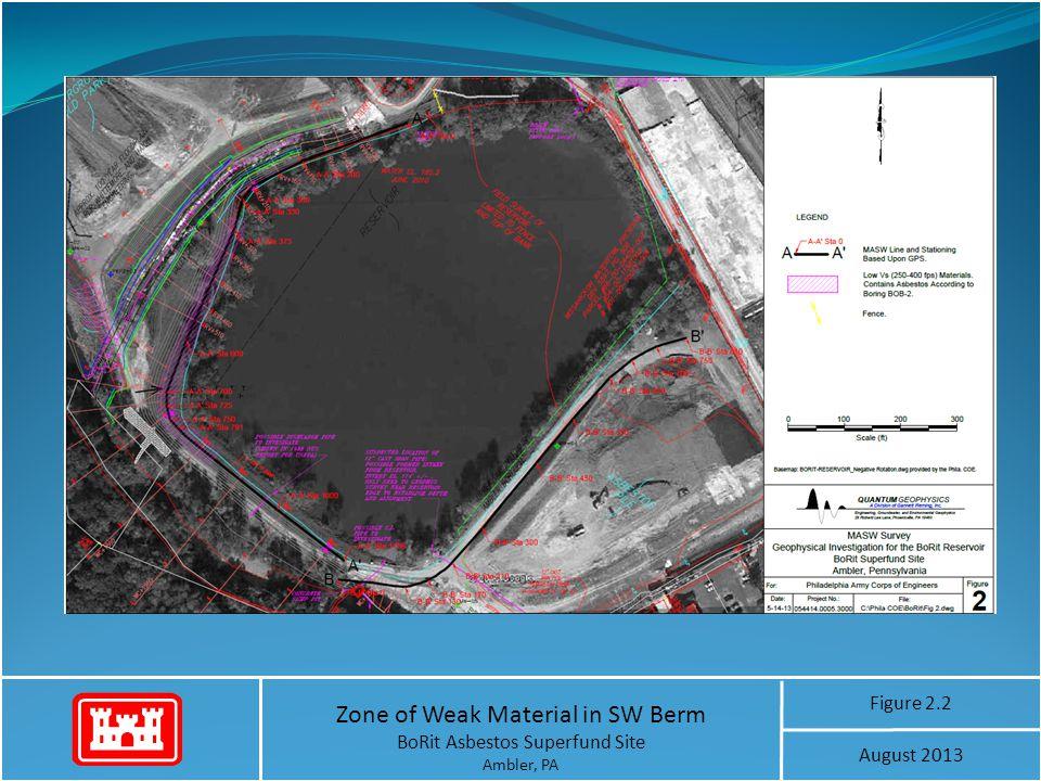 Zone of Weak Material in SW Berm BoRit Asbestos Superfund Site Ambler, PA Figure 2.2 August 2013