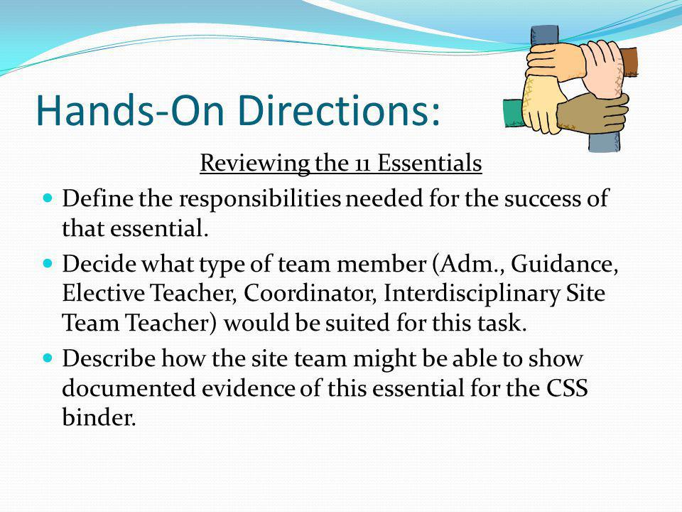 Hands-On Directions: Reviewing the 11 Essentials Define the responsibilities needed for the success of that essential. Decide what type of team member
