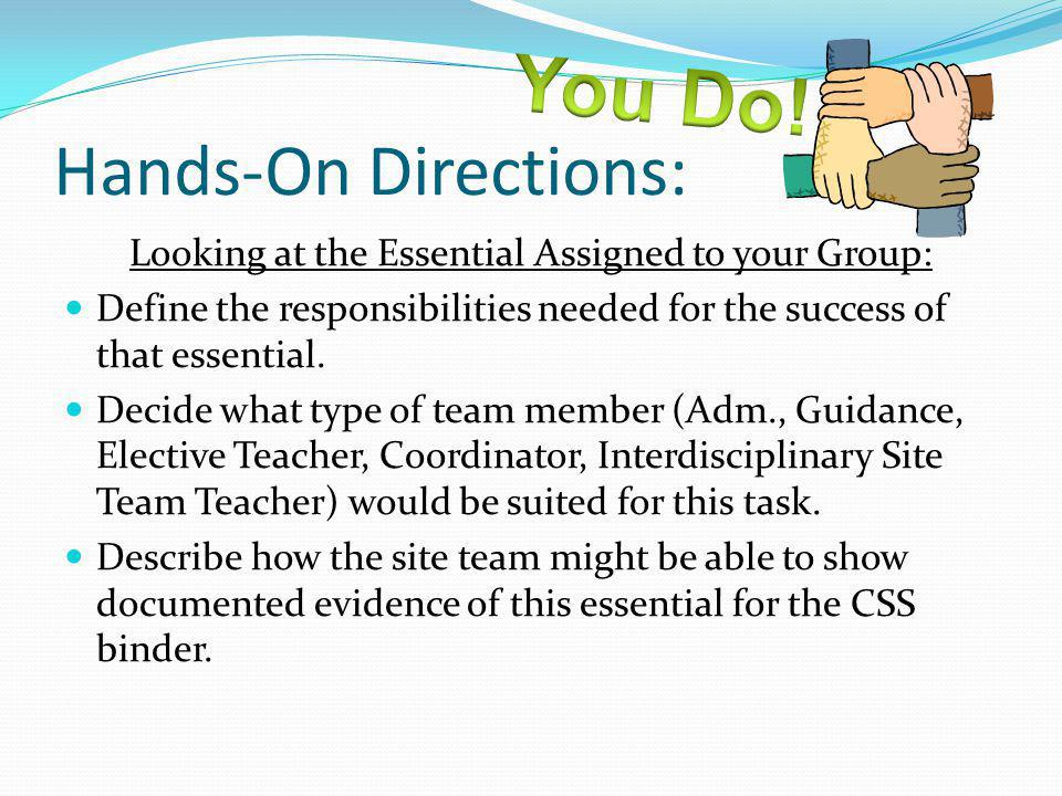 Hands-On Directions: Looking at the Essential Assigned to your Group: Define the responsibilities needed for the success of that essential. Decide wha