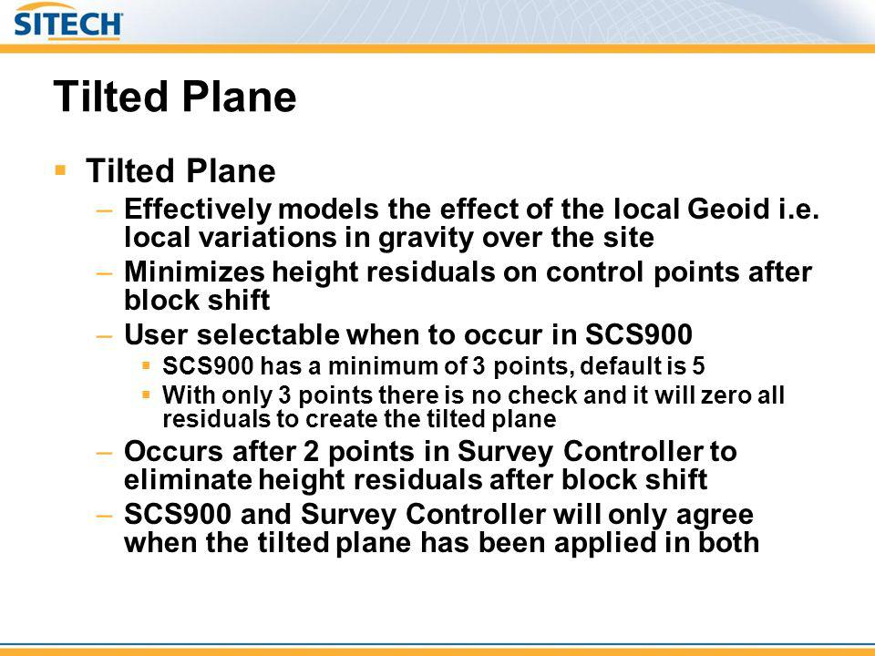 Tilted Plane –Effectively models the effect of the local Geoid i.e. local variations in gravity over the site –Minimizes height residuals on control p
