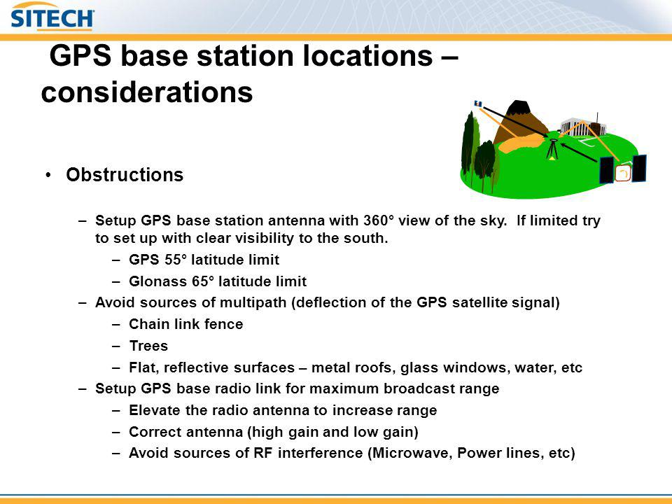Calibration Requirements Multi-point site calibration Requirements –Minimum of 3 (3D) control points Recommend 5+ control points with good geometry for better results –Combination of horizontal and vertical points - Minimums 3 horizontal control points & 3 vertical control points – or – 1 vertical + 3 horizontal + Geoid model –Used when control exists and references a design frame = GPS observation = Control Point