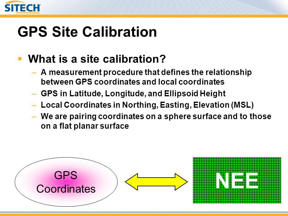 GPS Site Calibration What is a site calibration? –A measurement procedure that defines the relationship between GPS coordinates and local coordinates