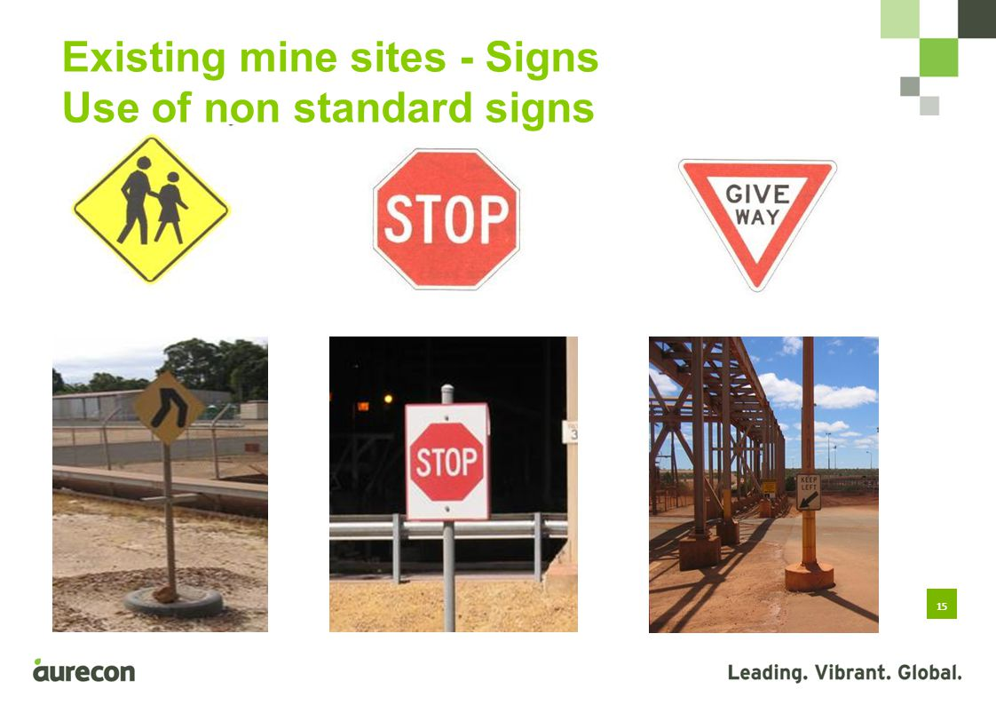 15 Existing mine sites - Signs Use of non standard signs Use of non-standard and inappropriate signs