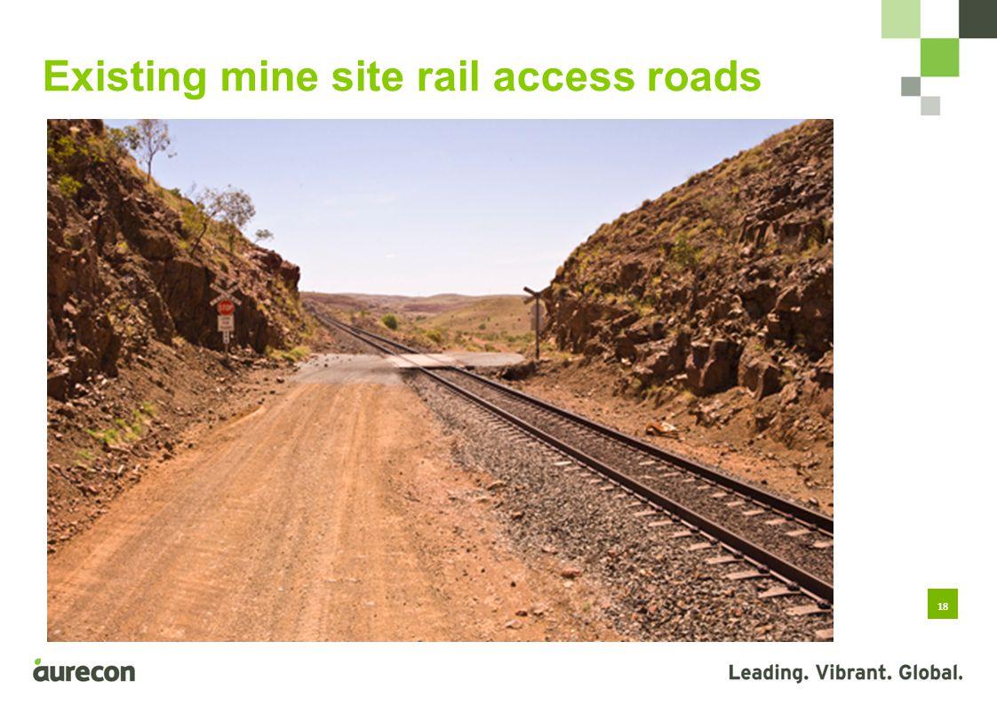18 Existing mine site rail access roads