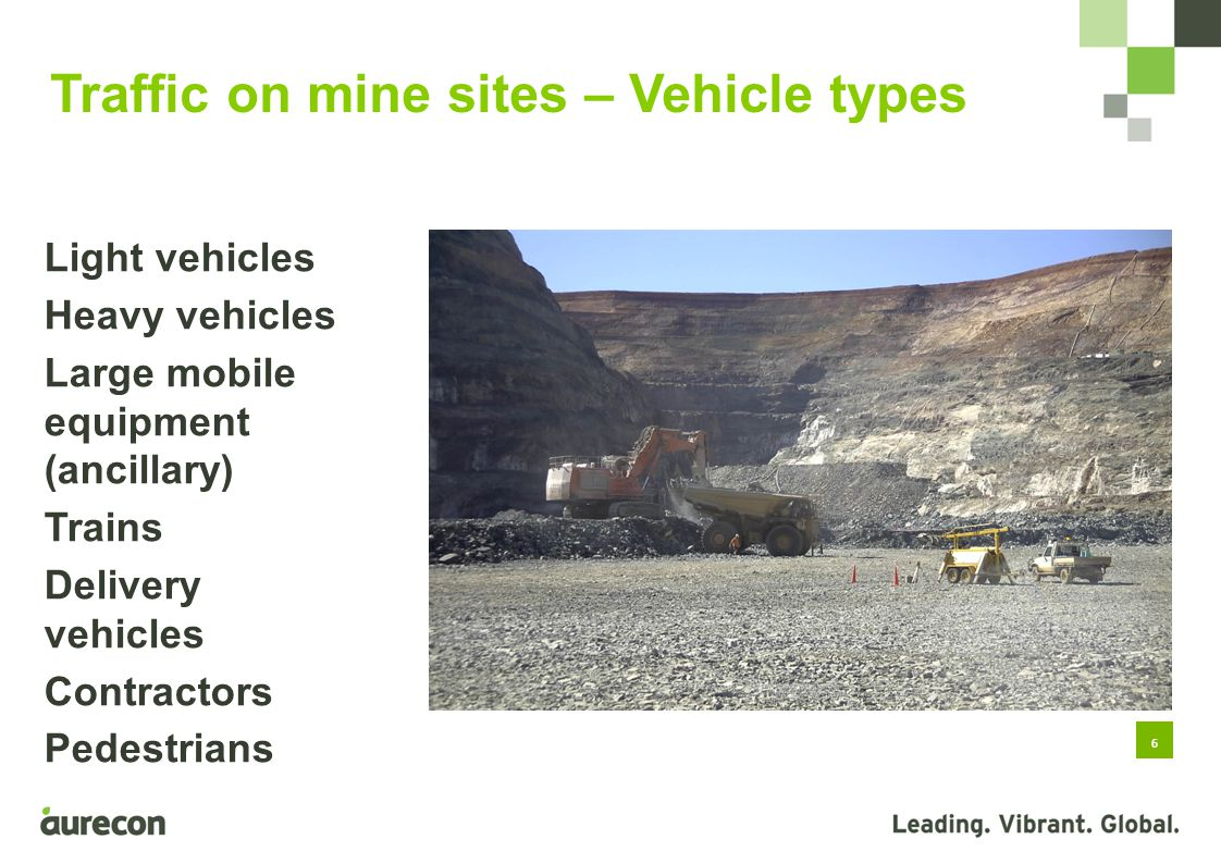 6 Light vehicles Heavy vehicles Large mobile equipment (ancillary) Trains Delivery vehicles Contractors Pedestrians Traffic on mine sites – Vehicle types