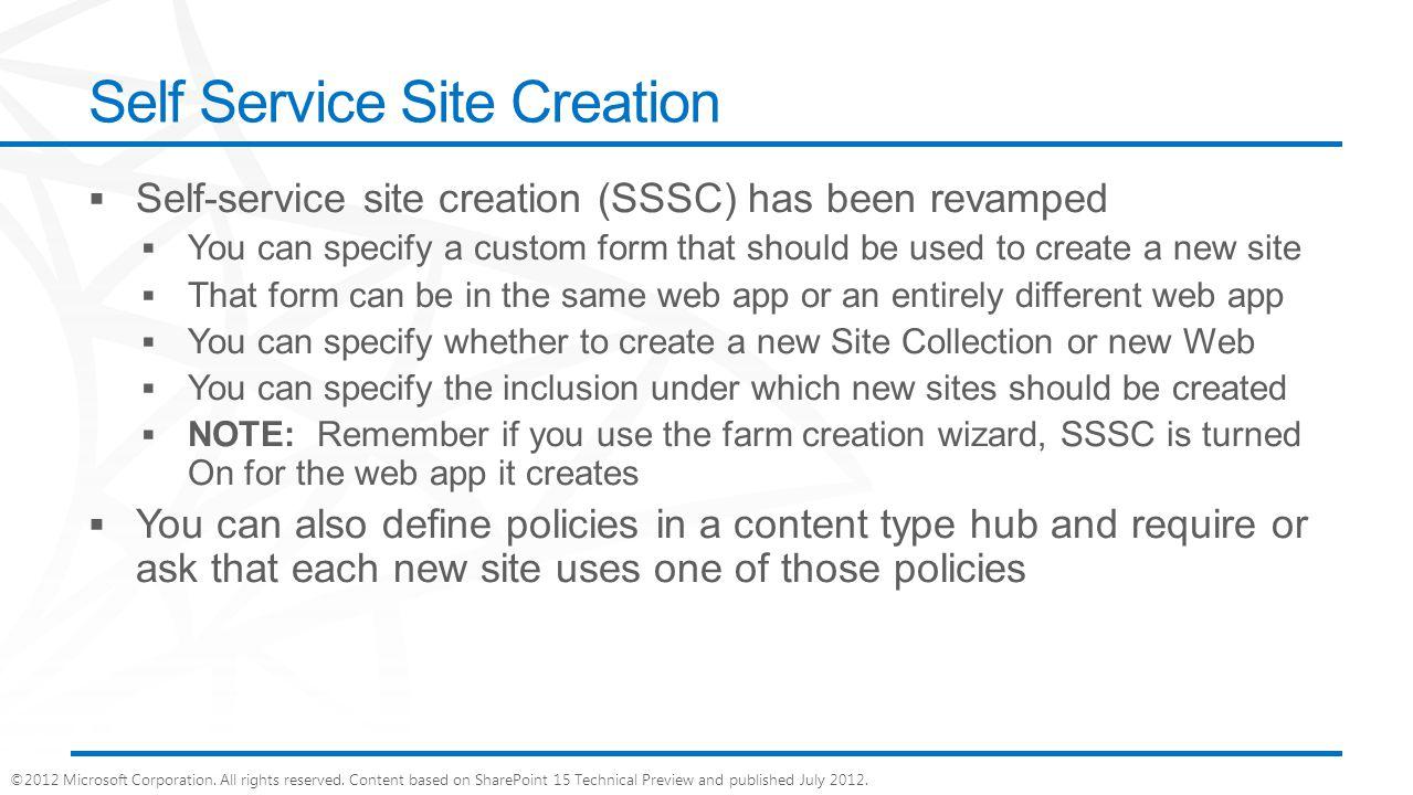 Self Service Site Creation