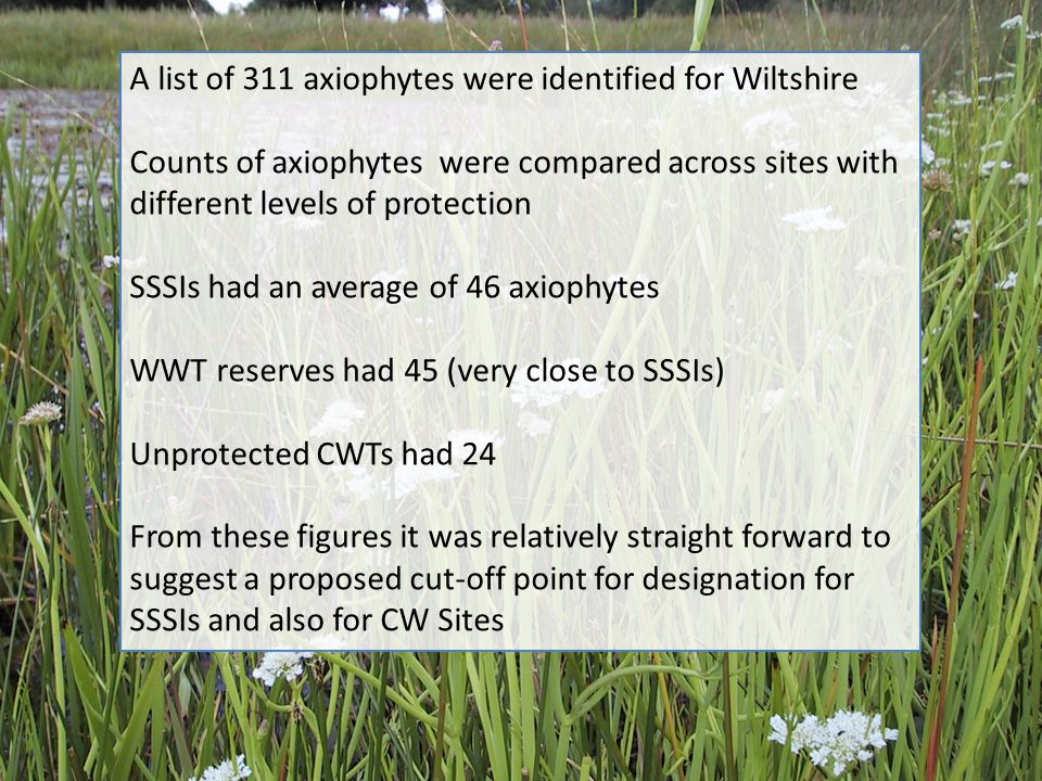 A list of 311 axiophytes were identified for Wiltshire Counts of axiophytes were compared across sites with different levels of protection SSSIs had a