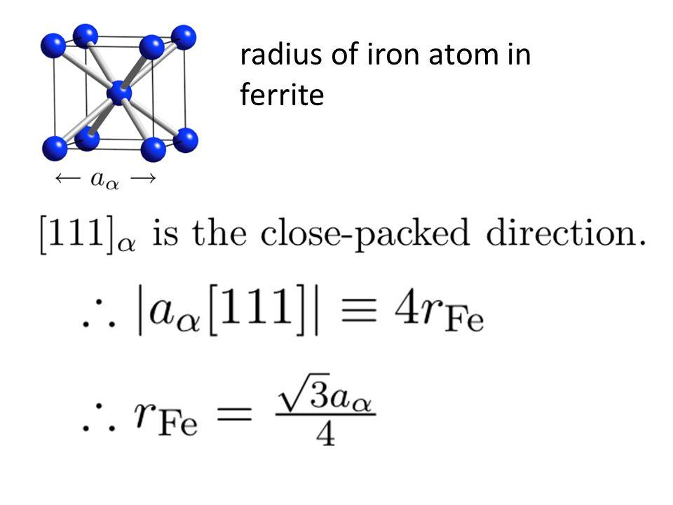 radius of iron atom in ferrite