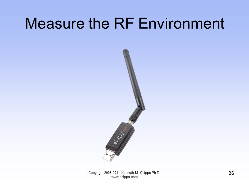 Measure the RF Environment Copyright 2008-2011 Kenneth M. Chipps Ph.D. www.chipps.com 36