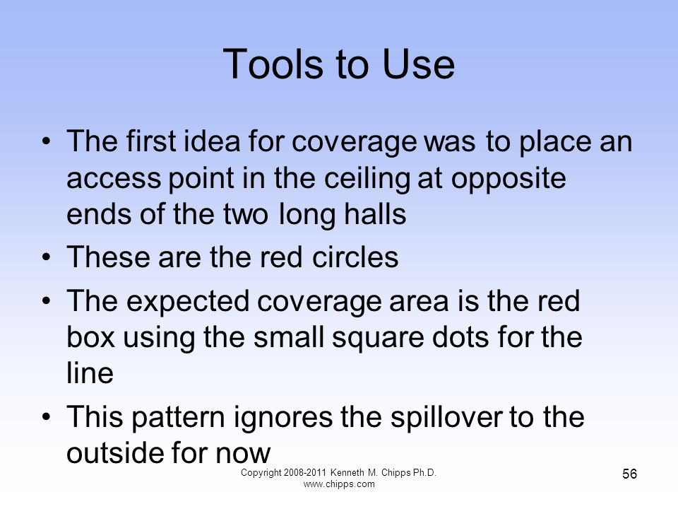 Tools to Use The first idea for coverage was to place an access point in the ceiling at opposite ends of the two long halls These are the red circles