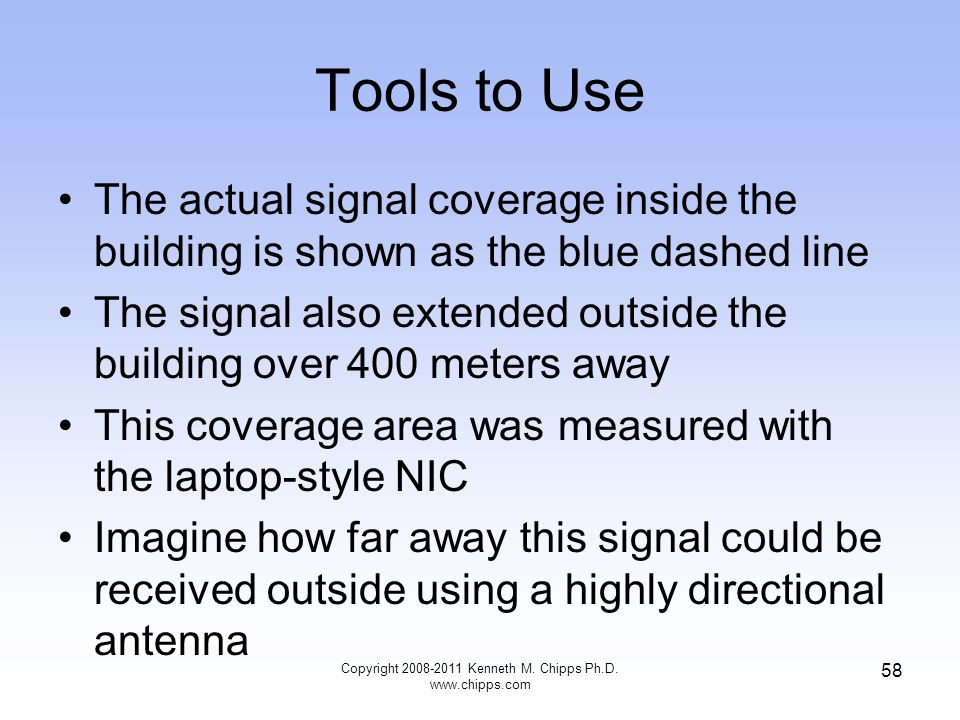 Tools to Use The actual signal coverage inside the building is shown as the blue dashed line The signal also extended outside the building over 400 me
