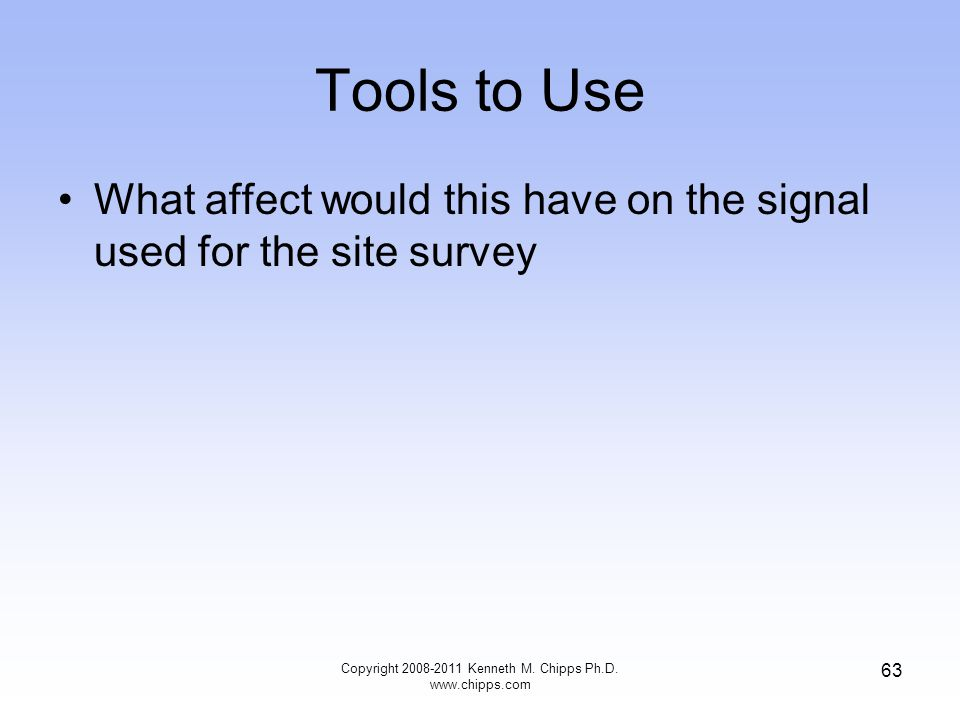 Tools to Use What affect would this have on the signal used for the site survey Copyright 2008-2011 Kenneth M.